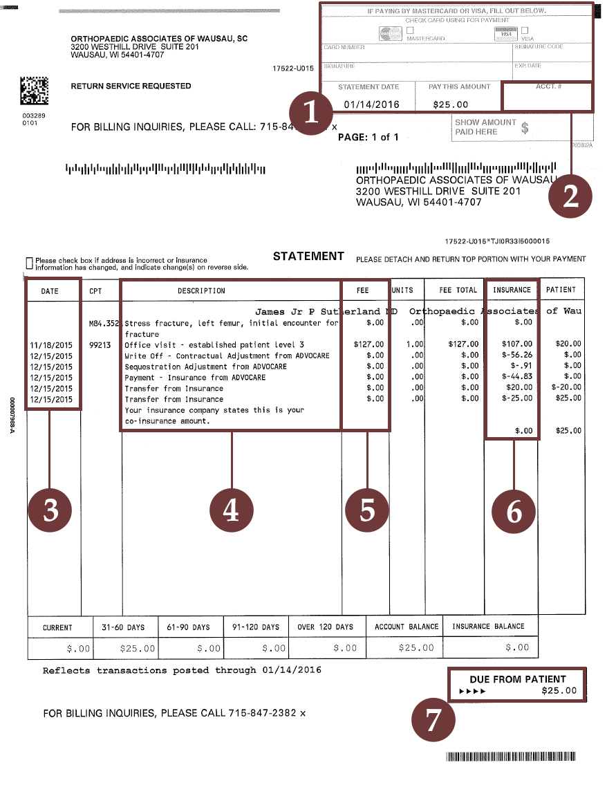 Example Billing Statement for OAW
